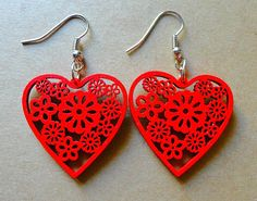 Bright Red Laser Cut Wood Earrings