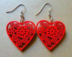 #lasercut wooden heart earrings