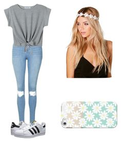 """School outfit"" by mikayla714 on Polyvore featuring Topshop, WithChic, adidas Originals, Boohoo and Casetify"