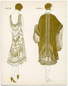 Montbrun 1925 n°9 Jeanne Lanvin & Paul Poiret, Evening Gown, Gazette du Bon Ton by Montbrun | Hprints.com
