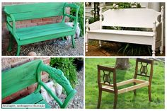 The green bench was made with two chairs that were no longer useful ... The bank White, by reusing headboard bed. Brilliant!