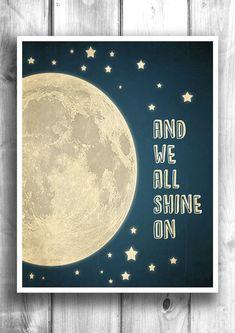 Mond und Sternen Typographic drucken von HappyLetterShop auf Etsy, $22.00