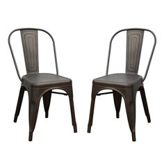 Joveco Sheetmetal Frame Tolix Style Bar Chairs with Back - Set of 2 (bronze)
