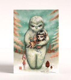 Abominable - Violet and the Yeti - signed 4 x 5.75 Mini Fine Art Print - unframed