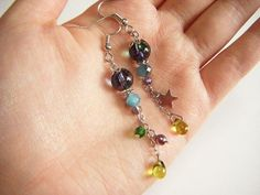 Green earrings asymmetry green and violet dangle by Coloramelody