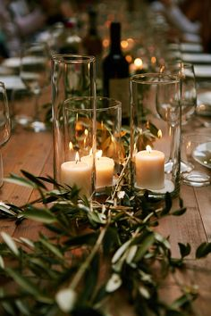 Wedding table decoration with olive leaves runner and candles, Tuscany country w. - Wedding table decoration with olive leaves runner and candles, Tuscany country wedding - Olive Wedding, Rustic Wedding, Tuscan Wedding, Cowgirl Wedding, Wedding Country, Camo Wedding, Country Weddings, Fall Wedding Flowers, Wedding Table Centerpieces