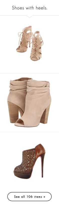 """Shoes with heels."" by aylin-schroeder on Polyvore featuring shoes, heels, sapatos, sandals, other heel, tan, tan shoes, stiletto heel shoes, high heels stilettos und stilettos shoes"
