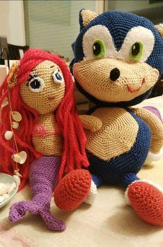 imagela sirenita y Sonic Amigurumi Doll, Patterns