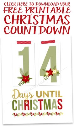 Christmas countdown printable. A fun way for the whole family to get excited for Christmas. Free Christmas countdown printable on www.thirtyhandmadedays.com