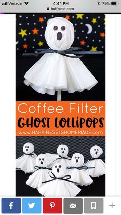 Easy Halloween Craft: These coffee filter ghost lollipops are a cute and easy twist on classic kleenex tissue ghosts. A nostalgic and fun Halloween treat that's sure to be a big hit with kids of all ages! Diy Halloween Party, Halloween Treats For Kids, Holidays Halloween, Toddler Halloween Crafts, Halloween Classroom Decorations, Kids Halloween Activities, Scary Halloween, Halloween Crafts For Toddlers, Halloween Goodies