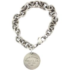 Pre-owned Tiffany & Co.- Sterling Silver Chain Bracelet w/Round Tag ($99) ❤ liked on Polyvore featuring jewelry, bracelets, tiffany co jewelry, chains jewelry, tiffany co jewellery, sterling silver jewellery and preowned jewelry