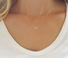 Dainty gold necklace Gold heart necklace Heart by HLcollection