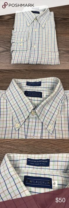 23041dd4406 J. McLaughlin Blue Plaid Cashmere Shirt L J. McLaughlin Light Blue With Navy ,