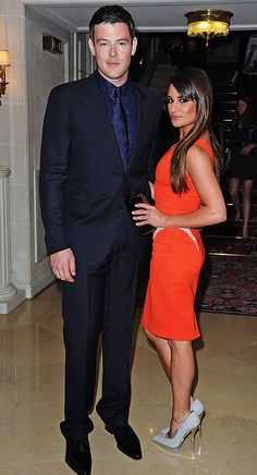 Lea Michele (in Atelier Versace) and Cory Monteith at the Versace Haute-Couture show as part of Paris Fashion Week Fall / Winter 2013