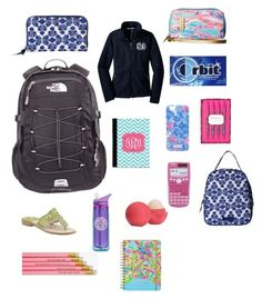 Preppy back to school supplies by alg5017 on Polyvore featuring polyvore, mode, style, The North Face, Vera Bradley, Lilly Pulitzer, Eos, fashion and clothing