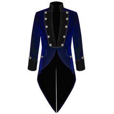Mens Custom BLUE/BLACK Steampunk Tailcoat Wedding Jacket Velvet Gothic... (110 NZD) ❤ liked on Polyvore featuring men's fashion