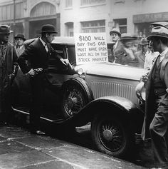 Walter Thornton tries to sell his luxury roadster for $100 cash on the streets of New York City following the 1929 stock market crash