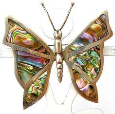 Vintage Sterling Silver Butterfly Brooch Abalone Seashell Hecho En Mexico Pin