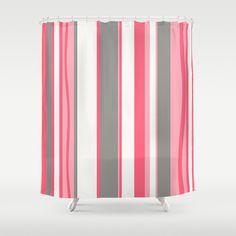 pink shower curtain retro shower curtain striped shower curtain modern shower curtain midcentury modern shower curtain pink bath decor
