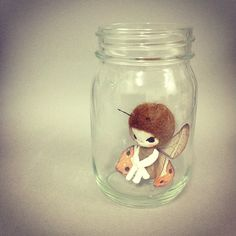 Evangelione: Doll (this is an idea generator - would love to do a much smaller fairy doll and make this jar into a lighted fairy home dollhouse with wire handle and glitter lights