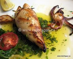 Back From Greece and Armed With Recipes - Kalofagas - Greek Food Stuffed calamari Octopus Recipes, Squid Recipes, Fish Recipes, Seafood Recipes, Cooking Recipes, Healthy Recipes, Recipes Dinner, Fish Dishes, Seafood Dishes