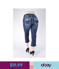 Shorts Nwt Women Plus Size 12-22 Stretch Denim Capri Jeans Dark Indigo Wash ,Wg-233 #ebay #Fashion