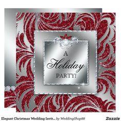 Elegant Christmas Wedding Invite Red Swirls Silver