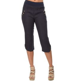 Look at this #zulilyfind! Navy Blue Clelia Linen Pants by Couleur Lin #zulilyfinds