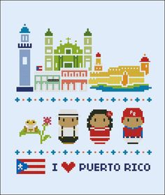 Puerto Rico icons Mini people around the world by cloudsfactory