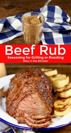 Beef Rub - Grilling & Barbecue Recipes - Easy Beef Rub recipe for grilling or roasting beef steaks, roasts, burgers and more. A simple combination of brown sugar and spices makes a delicious dry rub for meats. Roast Beef Marinade, Roast Beef Seasoning, Grilled Roast Beef, Smoked Beef Roast, Rump Roast Recipes, Beef Rump Roast, Best Roast Beef, Bbq Roast, Beef Steak Recipes