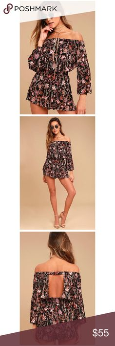 """Free People Short Romper Let your wild side loose in the Free People Pretty and Free Black Floral Print Romper! Soft woven rayon features a mauve, purple, and beige floral print, across an elasticized off-the-shoulder neckline and long sleeves with elastic cuffs. Breezy bodice, with back cutout, tops a stretchy smocked waist and fluttering shorts. Unlined. 100% Rayon.  Length: Above mid-thigh. Size small measures 28"""" from top to bottom. Bust: Great for any cup size. Waist: Fitted - elastic…"""