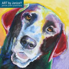 Dog painting dog art commission pet painting, Betty, a Black Labrador https://www.etsy.com/shop/ARTbyJaniceY