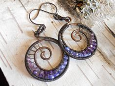 Wire Wrapped Spiral Hoops with Tanzanite and by NorthShoreTreasury, $109.00