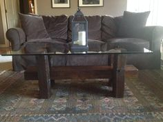 Barn Beam Glass Top Coffee Table $425 Loft Furniture, Glass Top Coffee Table, Hippie Life, Beams, Repurposed, Restoration, Couch, London, Inspiration