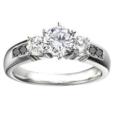 Promise Ring Set with Black And White Diamonds mounted in Sterling Silver (0.41 ct. twt.)
