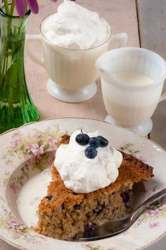 Baked Blueberry Oatmeal with Chantilly Cream from the Apron of Grace blog. #oatmeal #blueberry #breakfast