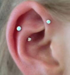 White Opal Forward Helix Piercing Jewelry at MyBodiArt