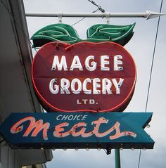 tomato grocery store sign, red, green, blue, white