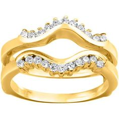 18k Gold 1/4ct TDW Diamond Wave-inspired Classic Ring Guard (G-H, SI2-I1) (18K Yellow Gold, Size 4.50), Size: 4.5 (chevron)