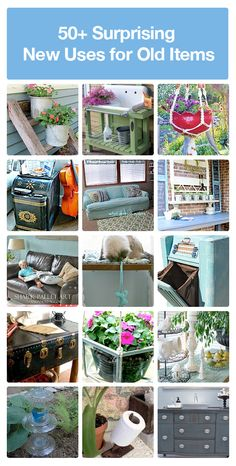 50 + ideas for repurposing and reusing old items you have lying around the house.