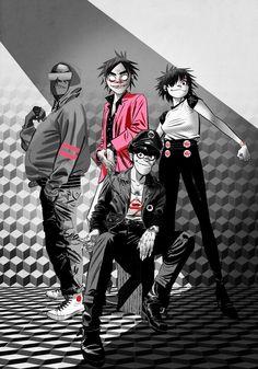 Damon Albarn, Gorillaz Band, Jamie Hewlett Art, Sunshine In A Bag, Monkeys Band, Game Design, Human Art, Tank Girl, Fanart