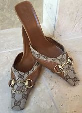 100% Auth GUCCI Monogram GG Leather Mules Heels Brown Horse-bit SIZE 40 (US 9.5)