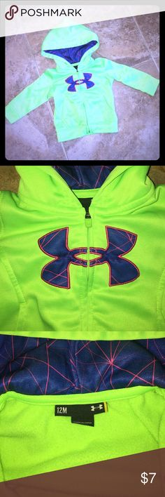 Under Armour 12m jacket Circle around the logo on the back is lifting off slightly. (See picture) Besides that, it's in excellent condition. Smoke free home. Under Armour Jackets & Coats