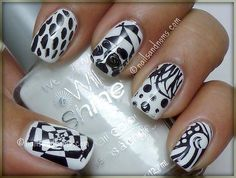 Day 1: White Base With Black by NailsandNoms, via Flickr