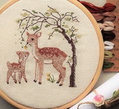 Well hello there!  So this is a gift wrapped cross stitch kit including everything you need to create your own Oh Deer cross stitch which measures…