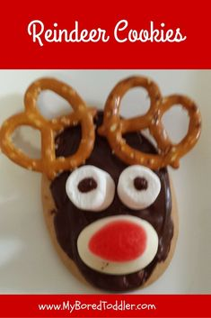 These reindeer cookies are easy enough for your toddler to help you make and are perfect for taking to kids Christmas parties.