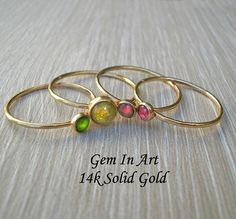 Solid Gold Dainty Solid Gold Stacking RingSet of 14k Gold Ring, Gold Rings, Ring Spacer, Dainty Ring, Green Tourmaline, One Ring, Make A Gift, Stacking Rings, Personalized Jewelry