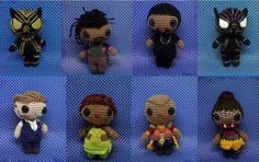 Black Panther amigurumi full set of eight PDF crochet pattern T'Challa, Okoye, Nakia, Shuri, Killmonger, Klaw