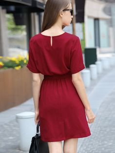 abaday offers Red Short Sleeve Tie-Waist Casual Dress & more to fit your fashionable needs. Simple Dresses, Pretty Dresses, Casual Dresses, Fashion Dresses, Short Sleeve Dresses, Casual Outfits, Dress Outfits, Prom Dress Shopping, Online Dress Shopping