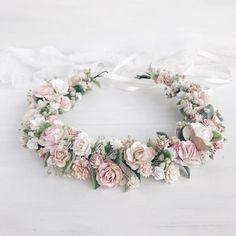Flower crown, Blush flower crown, Flower headpiece wedding, Bridal hair, Bridesmaids Excited to shar Flower Headpiece Wedding, Flower Crown Wedding, Floral Headpiece, Bridal Headpieces, Floral Wedding, Bridal Hair, Wedding Blush, Flower Headdress, Blush Bridal